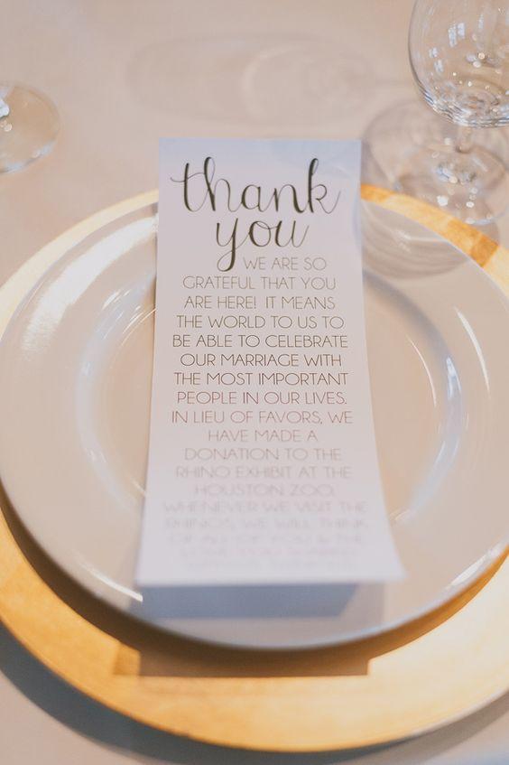 segnaposto matrimonio ringraziamento