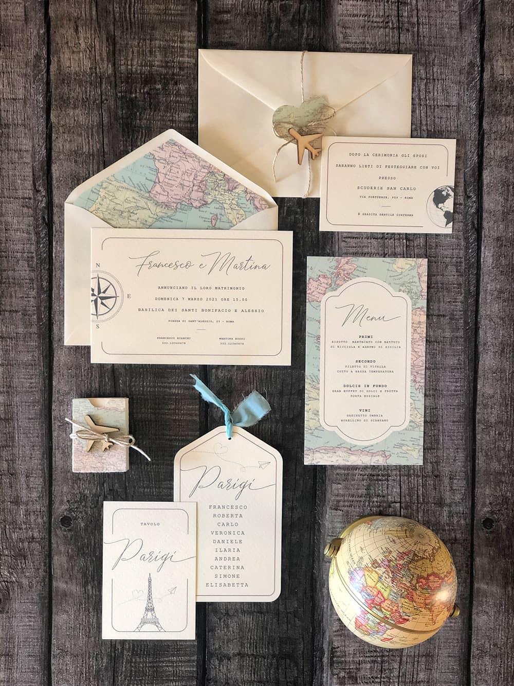travel themed wedding invitation