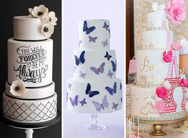 torte matrimonio con illustrazioni