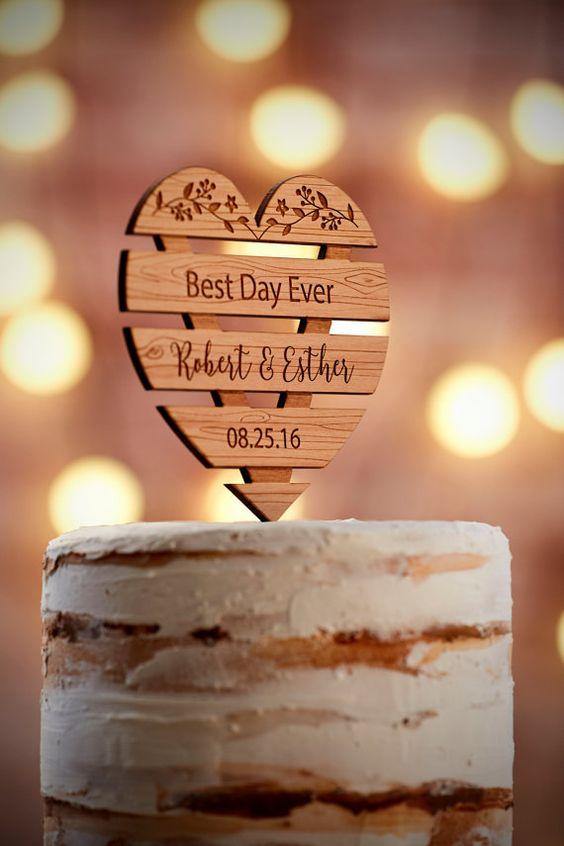 cake topper cuore legno