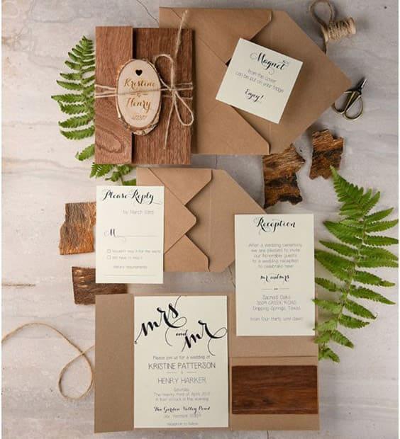 partecipazioni matrimonio legno