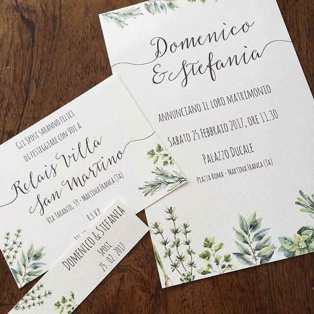 partecipazioni matrimonio greenery