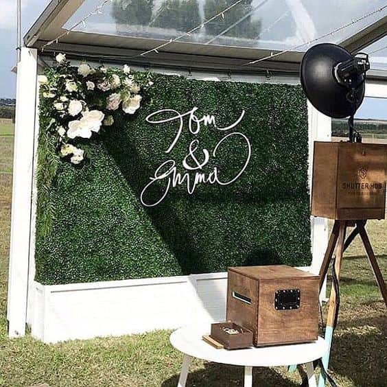 backdrop matrimonio verde