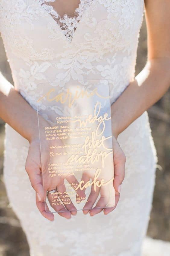 menu plexiglass matrimonio