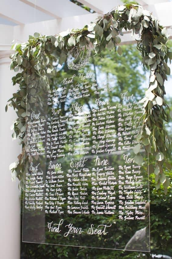tableau de mariage plexiglass