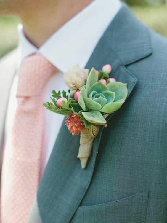 bottoniera matrimonio cactus